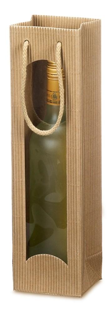 Flaschentragetasche 1er offene Welle mit Fenster uni