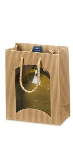 Flaschentragetasche Boxbeutel offene Welle mit Fenster 1er u